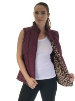 Special one women's animal print reversible quilted faux fur vest