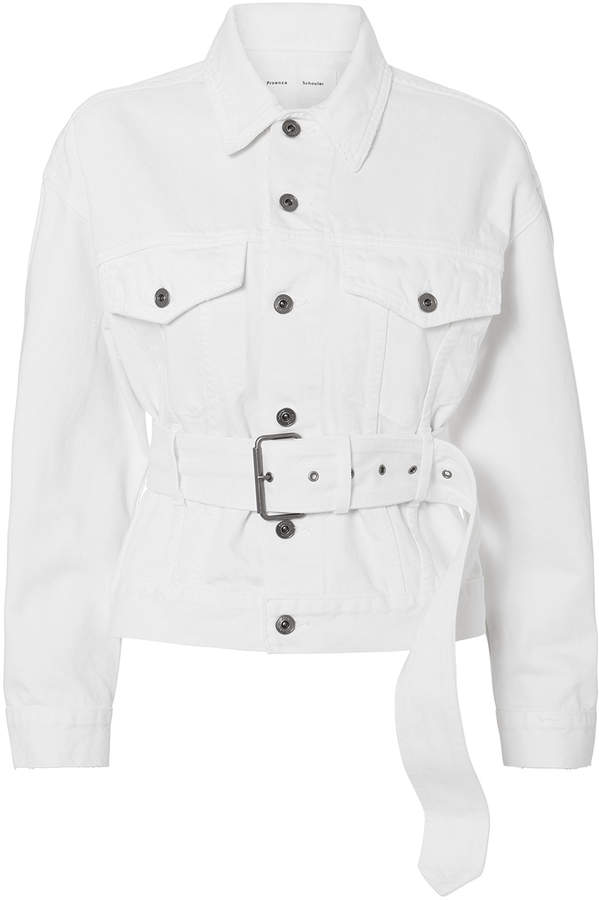 Proenza Schouler Pswl Belted White Denim Jacket