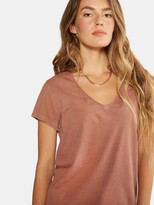 Thumbnail for your product : ÉTICA Aiden Organic Cotton V Neck Tee - Redwood Pigment