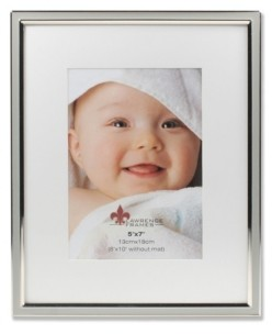 """Lawrence Frames Matted Gray Enamel and Silver Metal Picture Frame - 8"""" x 10"""" without Mat - 5"""" x 7"""""""