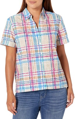 Alfred Dunner Women's Petite Floral Pattern Plaid Burnout Woven TOP