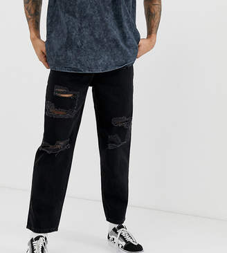 Reclaimed Vintage the '89 original fit jeans with rips-Black