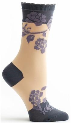Ozone Women's Sheer Rose Sock