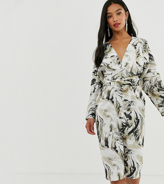 ASOS DESIGN Petite midi dress with batwing sleeve and wrap waist in satin in abstract print
