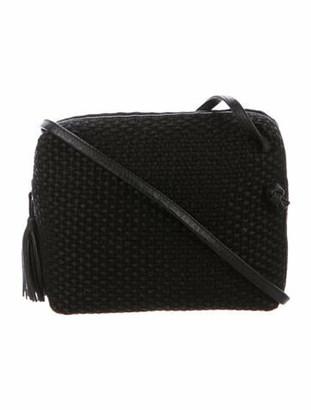 Bottega Veneta Vintage Leather-Trimmed Raffia Crossbody Bag Black