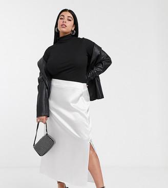 Glamorous Curve midaxi skirt in textured satin