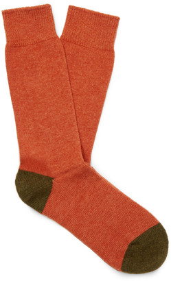 Anonymous Ism - Two-Tone Wool-Blend Socks - Men - Orange