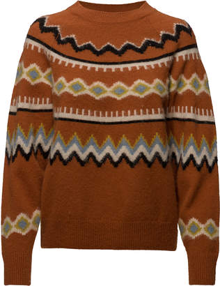 Samsoe & Samsoe Brown Lambswool Fabrizia Sweater - MEDIUM - Brown/Yellow/White