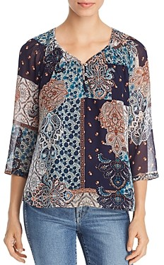 Daniel Rainn Patchwork Print Top