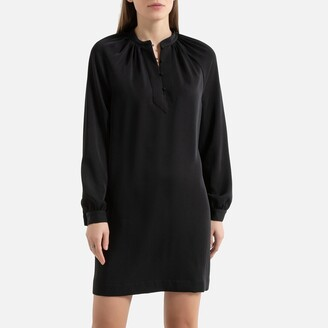 La Redoute Collections Short Shift Dress with Long Sleeves and Mandarin-Collar