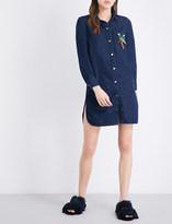 Mo&Co. Parrot-embellished denim shirt dress