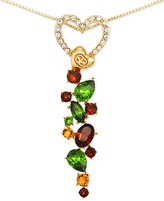 Sis by Simone I Smith Pave Heart and Multi-Color Crystal Drop Necklace in 18k Gold over Sterling Silver