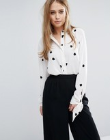 Warehouse Polka Dot Tie Sleeve Blouse
