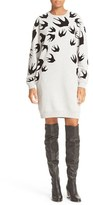 McQ by Alexander McQueen Women's Flocked Swallow Classic Sweatshirt Dress