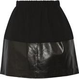 Vince Leather-paneled crepe mini skirt