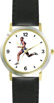 WatchBuddy Man Runner No.1 Track & Field DELUXE TWO-TONE THEME WATCH - Arabic Numbers - Black Leather Strap-Women's Size-Small