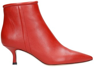 Fabio Rusconi Low Heels Ankle Boots In Red Leather