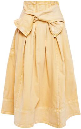 Ulla Johnson Virgil Tie-front Pleated Washed-denim Midi Skirt