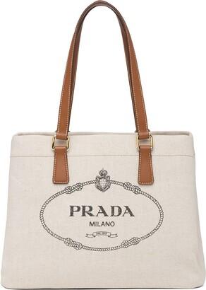 Prada Logo-Print Canvas Tote Bag