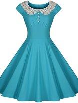 Miusol Women's Retro Scoop Neck Lace Vintage Evening Party Dress