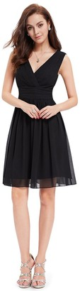 Ever Pretty Ever-Pretty Womens Double V Neck Ruched Waist Short Party Dress 16UK Black