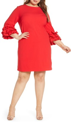 Maree Pour Toi Ruffle Sleeve Scuba Shift Dress