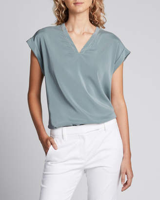 Brunello Cucinelli V-Neck Short-Sleeve Stretch Silk Top