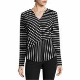 WORTHINGTON Worthington Long Sleeve Y Neck Stripe T-Shirt-Womens Talls