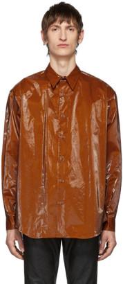 John Lawrence Sullivan Orange Coated Cotton Shirt