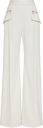 Brandon Maxwell Wide-Leg Accent Pocket Crepe Pants