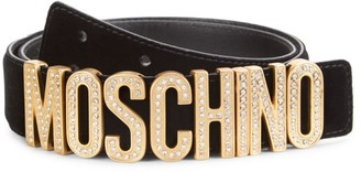 Moschino Crystal-Embellished Logo Velvet Belt