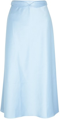 Anna October Dido Blue Stretch-satin Midi Skirt
