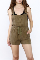Honey Punch Olive Overall Romper