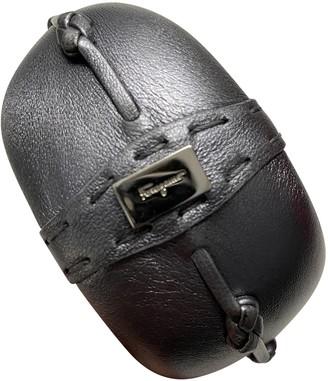 Salvatore Ferragamo Grey Leather Bracelets