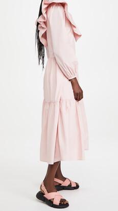 ENGLISH FACTORY Ruffled Neck Midi Dress