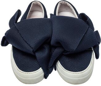 Joshua Sanders Blue Mesh Felt Bow Slip On Sneakers Size 38