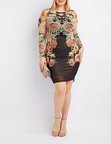 Charlotte Russe Plus Size Floral Mesh Bodycon Dress