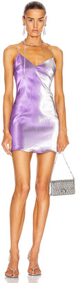 Area Crystal Choker Mini Dress in Silver Violet | FWRD