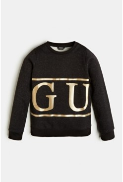 GUESS Big Girls Lurex French Terry Logo Popover Sweatshirt