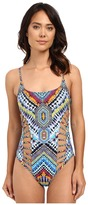 Red Carter Beach Babe Side Cut Out Tank Mio One-Piece