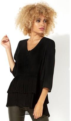 M&Co Roman Originals 3/4 sleeve pleated tunic top