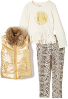Juicy Couture Cream & Gold Faux Dur-Trim Vest Set - Infant & Toddler