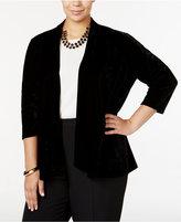 NY Collection Plus Size Velvet Cardigan