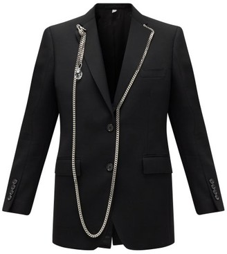 Burberry Chain-trimmed Single-breasted Wool Blazer - Womens - Black