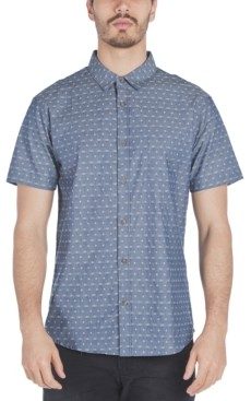 Sovereign Code Men's Antz Regular-Fit Textured Geo-Print Chambray Shirt