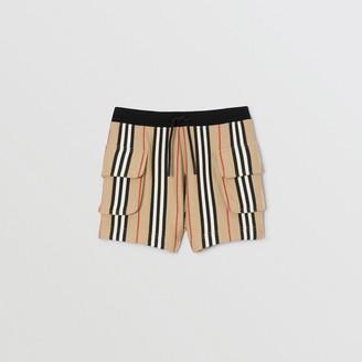 Burberry Childrens Icon Stripe Cotton Drawcord Shorts