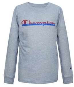 Champion Toddler Boys Panel Stripe Script Long Sleeve Tee