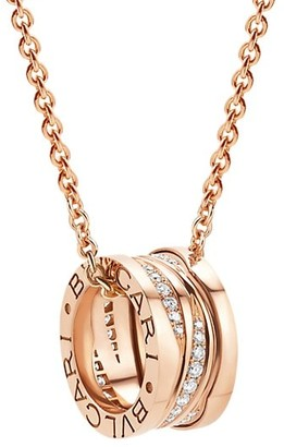 Bvlgari B.zero1 Design Legend 18K Rose Gold & Diamond Pendant Necklace