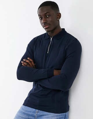 ASOS DESIGN muscle fit smart long sleeve polo in navy with zip collar