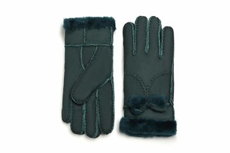 YISEVEN Women Rugged Sheepskin Shearling Leather Gloves Bow Knot Cute Sherpa Furry Cuff Thick Wool Lined Heated Warm for Winter Cold Weather Dress Driving gift Black L